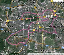 Photo: Le parcours tel qu'enregistré par le GPS de Charles -- plat et très roulant !