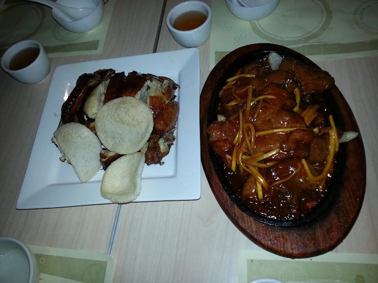 Crispy chicken and beef tenderloin at Congee Queen (2013)