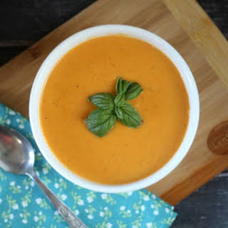 Creamy Red Lentil & Roasted Carrot Soup.