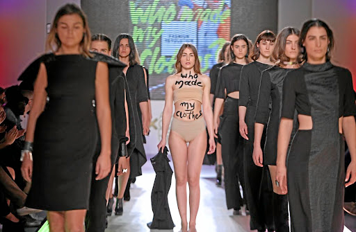 Greek designer Athina Korda shone a spotlight on the Fashion Revolution movement in a recent runway show.