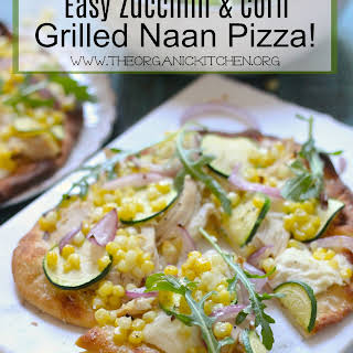 Easy Zucchini & Corn Grilled Naan Pizza!.