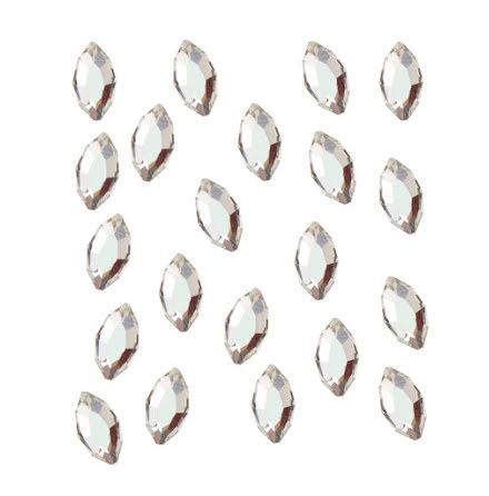 20 strasstenar ovaler, silver, 4 x 2 mm
