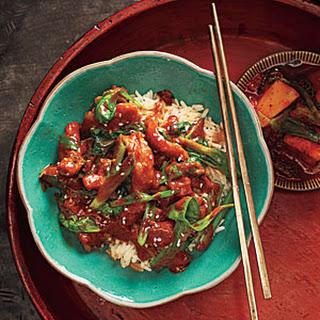 Dak Bokkeum with Spinach (Korean Stewed Chicken with Spinach)