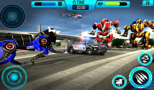 Air Force Transform Robot Cop Wolf Helicopter Game for PC