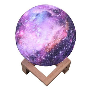 Cosmos Moon Lamp 3D - lampa in forma de luna, lumina LED multicolora, stand lemn