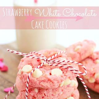Strawberry White Chocolate Cake Cookies