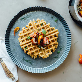 Zucchini-basil Chickpea Waffles W/ Tomato + Shaved Fennel Salad (gluten + Dairy Free).