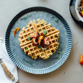 Zucchini-basil Chickpea Waffles W/ Tomato + Shaved Fennel Salad (gluten + Dairy Free).