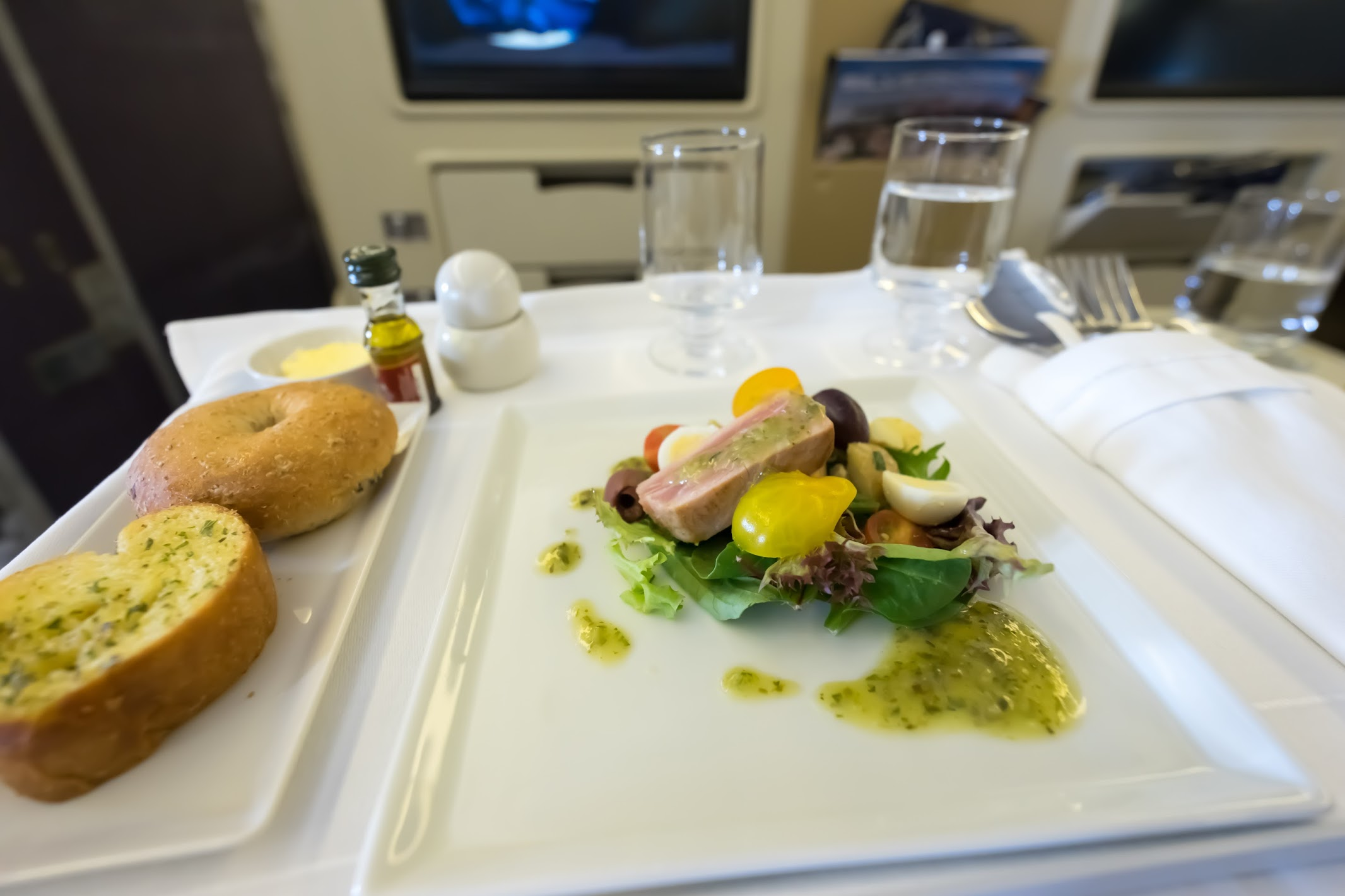 Singapore Airlines business class in-flight meal