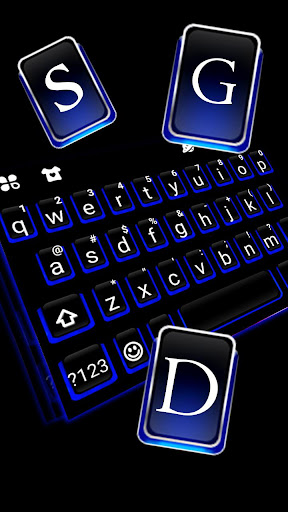Blue Black Keyboard Theme 1.0 screenshots 2