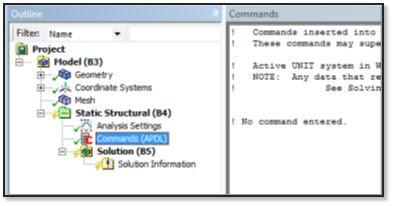 ANSYS - Наличие инструмента Commands (APDL) позволит пользователю загрузить результаты