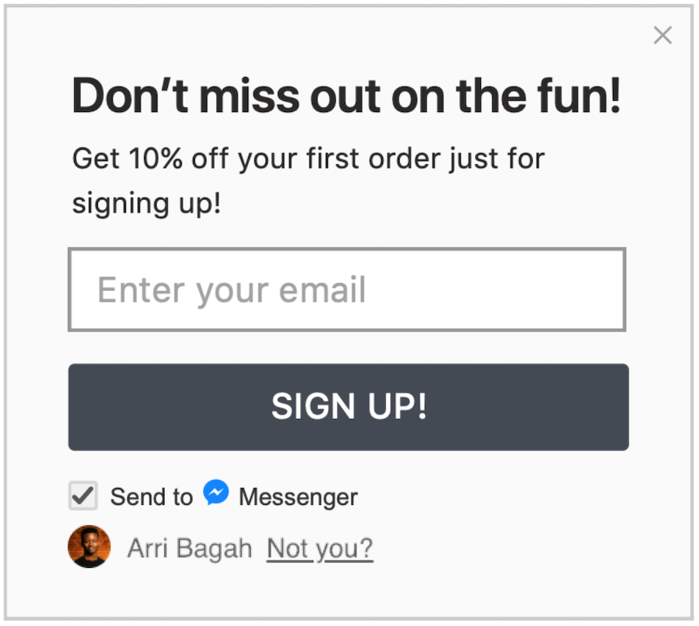 messenger subscriber opt in form