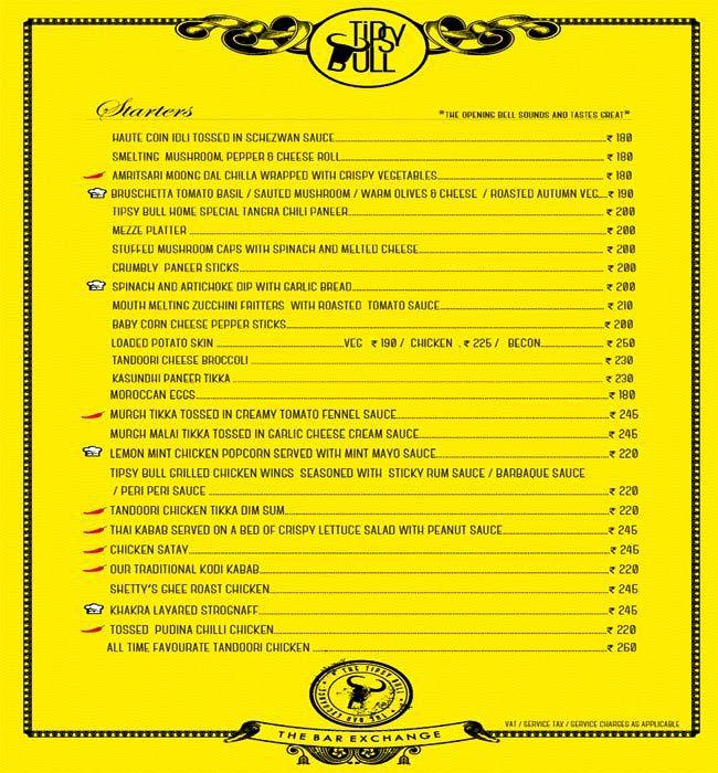 Tipsy Bull menu 3