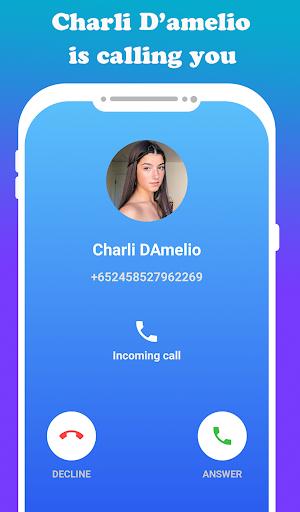 fake call Charli D'amelio  live chat video _prank screenshot 4