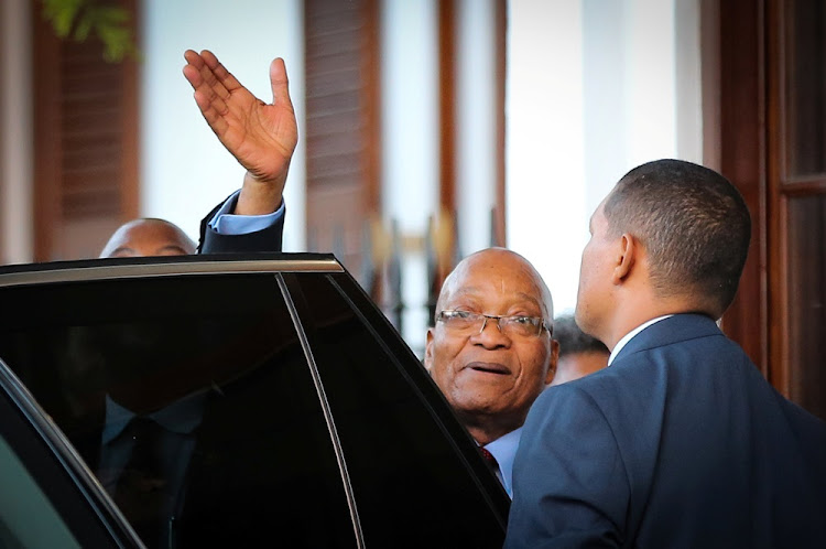Former president Jacob Zuma leaves Tuynhuys at Parliament in Cape Town on February 20 2018.