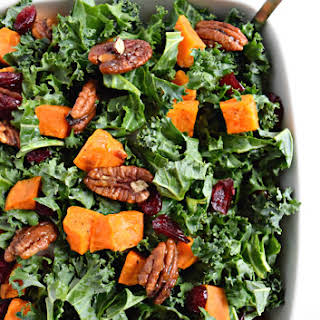 Roasted Sweet Potato & Kale Salad with Candied Pecans & Cranberries.