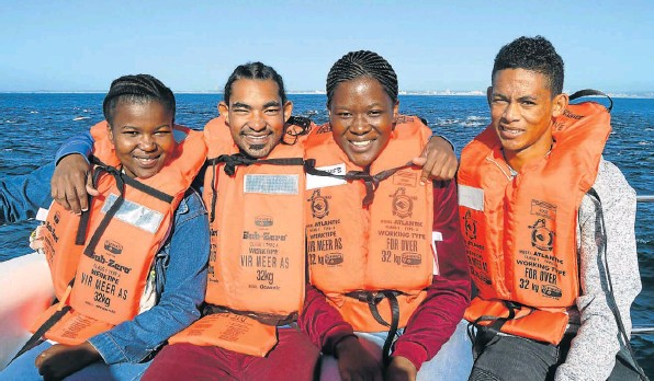 Wilderness Foundation Youth Development Programme students participating in AB Marine's inaugural ecotourism guide excursion are, from left Sinazo Booi, 21, Carlo Coetzee, 21, Nonzukiso Mpofu, 20, and Mervin van der Ross, 21