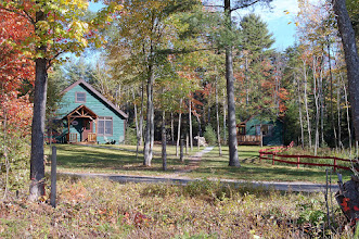 Photo: Writer's Chalet with aromatherapy steam shower (sauna), fireplace and writers loft on the left...... Guide's Cabin with jacuzzi and fireplace on the right. Unlimited trails and sunset lakeview the the right.