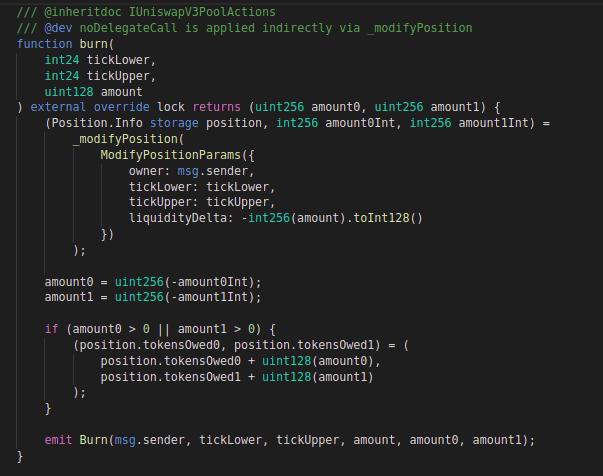 Uniswap v3: Code block for burn function