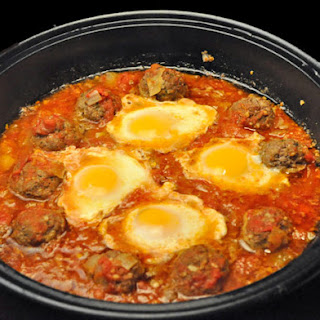 Tagine of Meatballs and Eggs.