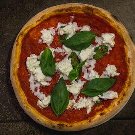 Pizza with cheese by Marius Radu - Food & Drink Cooking & Baking ( pizza, restaurant, tomato, hot, food, cheese )