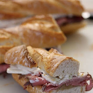 Roasted Beef Baguettes with Cider Onion Jam and Fennel Remoulade.