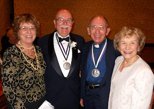 Photo: At the July 14 Ministry to the Armed Forces Recognition Dinner, (left to right) Mrs. Pat Venzke, Chaplain Rodger Venzke, Chaplain John Shaw (a former Silver St. Martin of Tours award recipient), and Mrs. Joanne Shaw. Chaplain Venzke served on active duty as an LCMS Army chaplain from 1963 to 1990 and then served as the director of LCMS Ministry to the Armed Forces from 1996 to 2004.