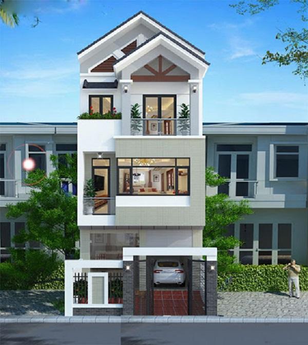 Ngoại thất nhà 3 tầng hiện đại đẹp lôi cuốn với kiểu mái kép