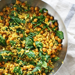 Curry Cauliflower Fried Rice with Chickpeas.