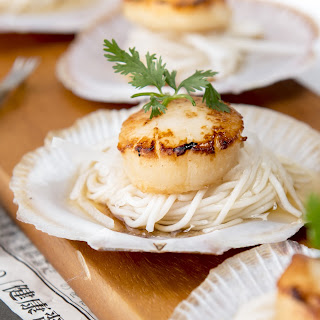 Grilled Scallops with Daikon and Cold Noodle Sauce