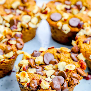 Pumpkin Spice Dump Muffins with Chocolate Chips and Hazelnuts Recipe
