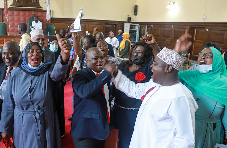 Mombasa MCAs celebrate after passing the BBI Bill on February 23.