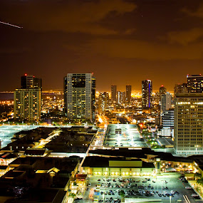 Honolulu City Lights by Nicolas Los Baños - City,  Street & Park  Skylines ( urban, skyline, nighttime, honolulu, hawaii, city, , night, Urban, City, Lifestyle )