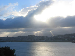Photo: Crepuscular rays over Wellington Airport - 8:17am, 12-May-05