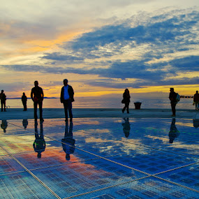 The Greeting to the Sun by Elvis Pažin - Travel Locations Landmarks ( reflection, croatia, zadar, landscape, attraction )