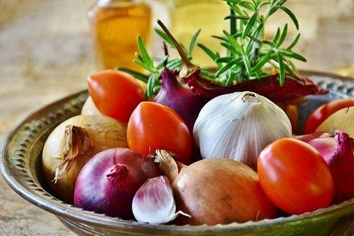 Onion, Red, Yellow, Garlic, Food