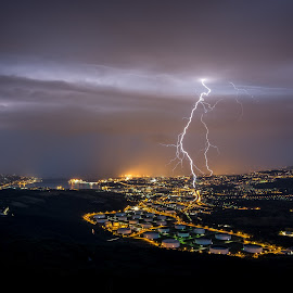 Consolidary price by Matic Cankar - Landscapes Weather ( lightning, no person, storm, city, chasing, night, thunder, clouds, landscape, lights )