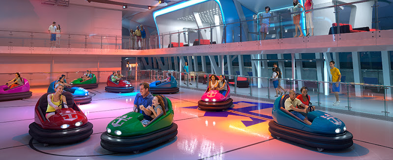 Ride bumper cars at the Seaplex aboard Ovation of the Seas.