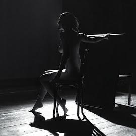 Silhouette theater by Cristi Mihăilescu - Nudes & Boudoir Artistic Nude ( woman, bw, chair, silhouette, nude )