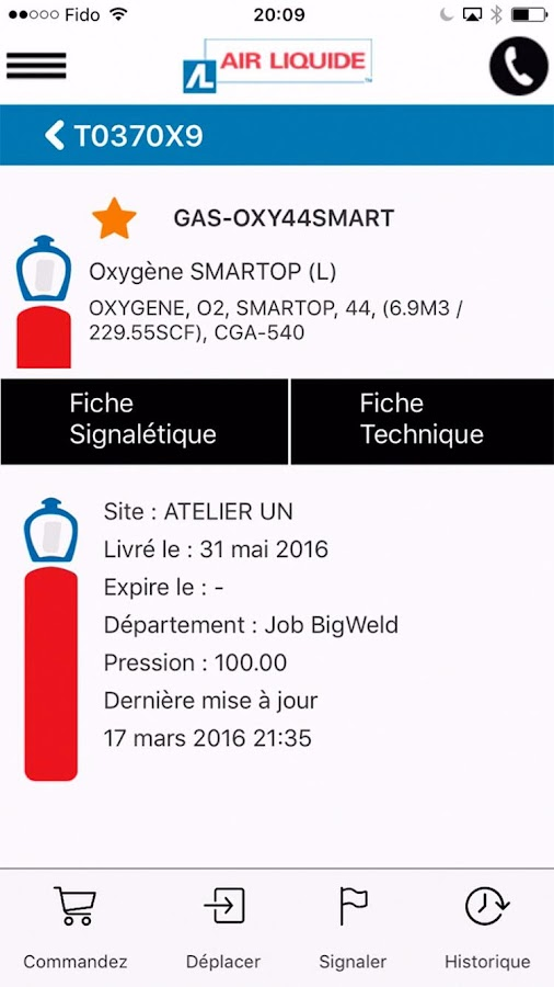 Air Liquide mobile application – Capture d'écran
