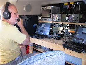 Photo: Terry W8ZN operating V/UHF station - FN00RG - ARRL June VHF 2014