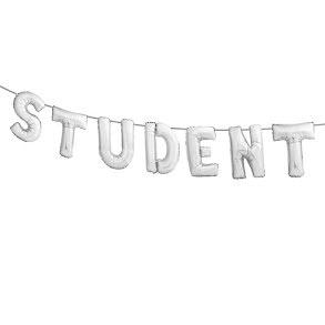 Folieballong, student silver