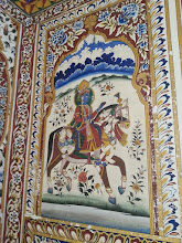 Photo: krishna at a horse formed by few of his 16.008 wives