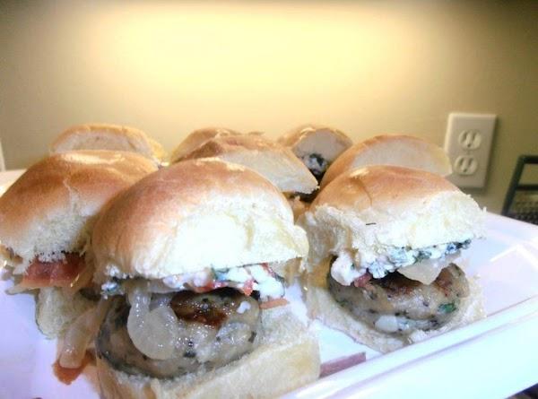 Best Mini Bird Sliders:  ground mini chicken burgers seasoned with greek seasonings topped...