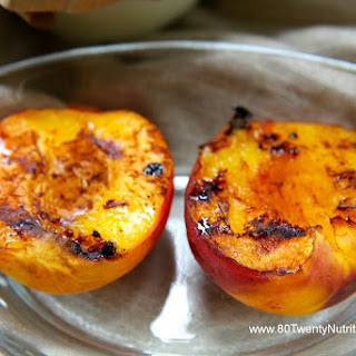 Grilled Ontario Peaches with Balsamic Reduction.