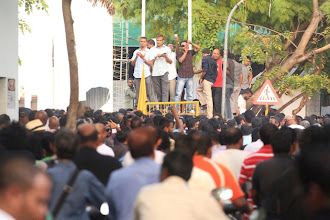 Photo: A peaceful march in Male' after MDP Haruge was re-opened by President Nasheed on February 14th 2012, after it was set on fire and vandalized by the rebels and opposition party supporters.
