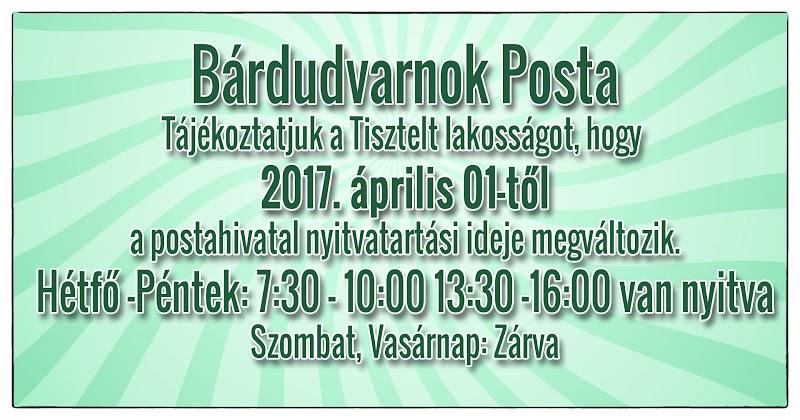2017. április 01-től a postahivatal nyitvatartási ideje megváltozik