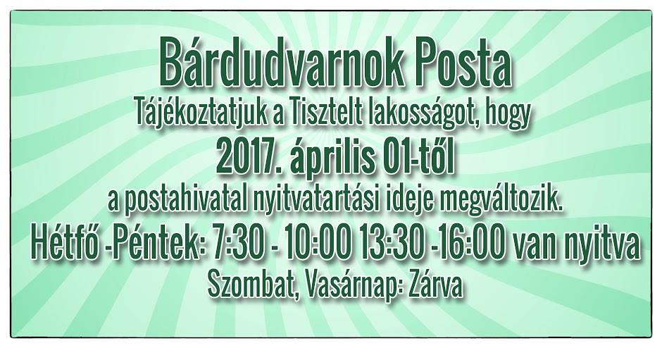 Postahivatal Bárdudvarnok nyitvatartása
