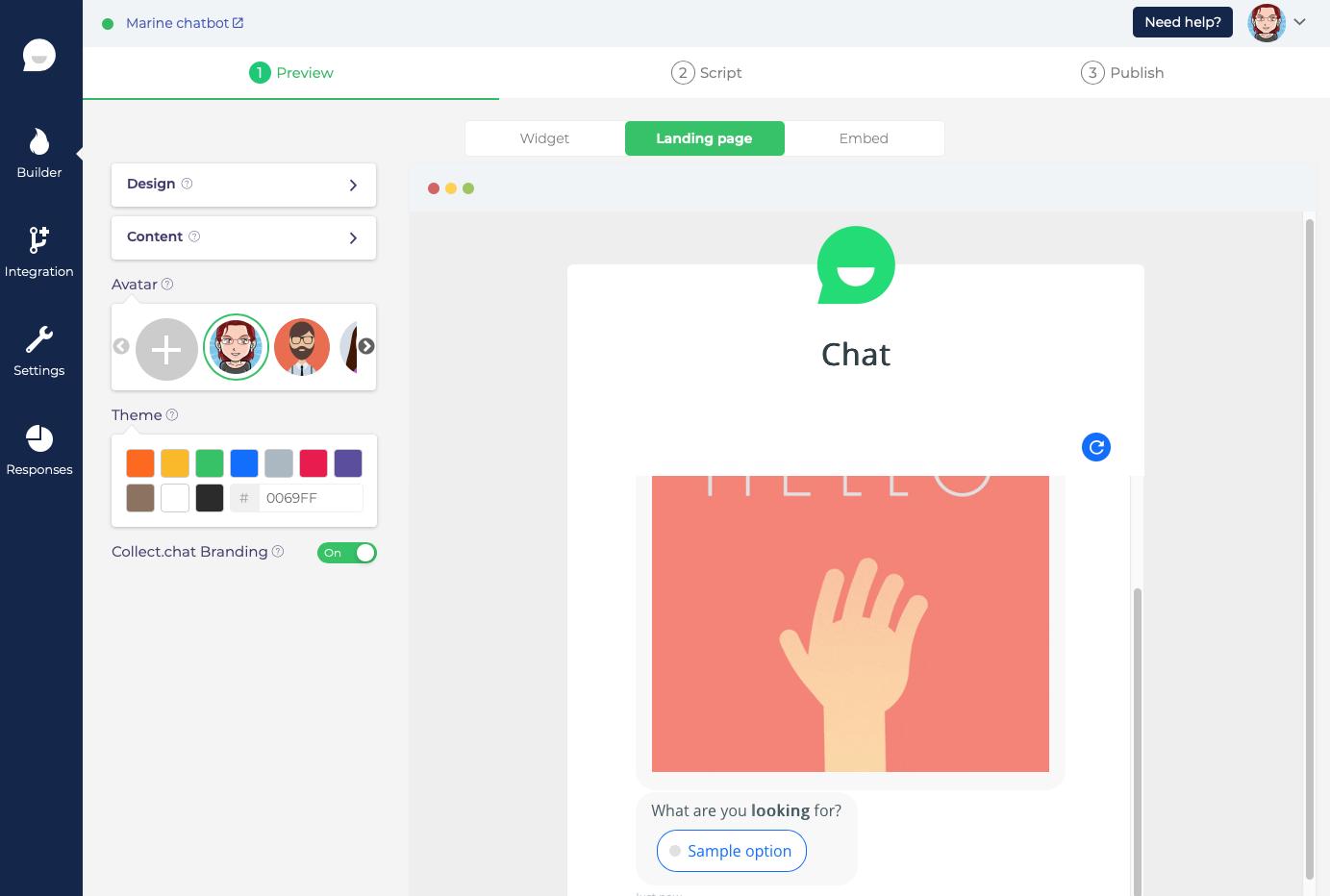 Personnaliser l'apparence de votre chatbot Collect.chat en Landing Page, page complète
