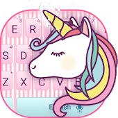 Cuteness Pink Rainbow Unicorn Keyboard